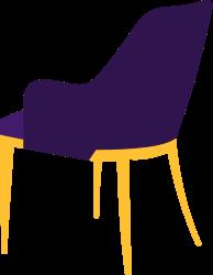 lilaner Stuhl nach hinten guckend