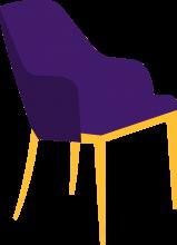 lilaner Stuhl nach vorne guckend